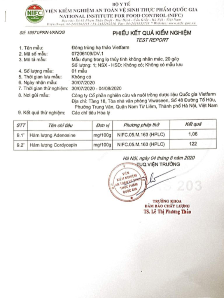 Giấy kiểm nghiệm hàm lượng hoạt chất Adenosine và Cordycepin của Đông trùng hạ thảo Tây Tạng ở mức tốt nhất