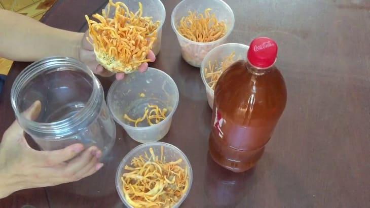 Không nên ngâm đông trùng bằng chai nhựa, nên chọn hũ thủy tinh có nắp đậy kín