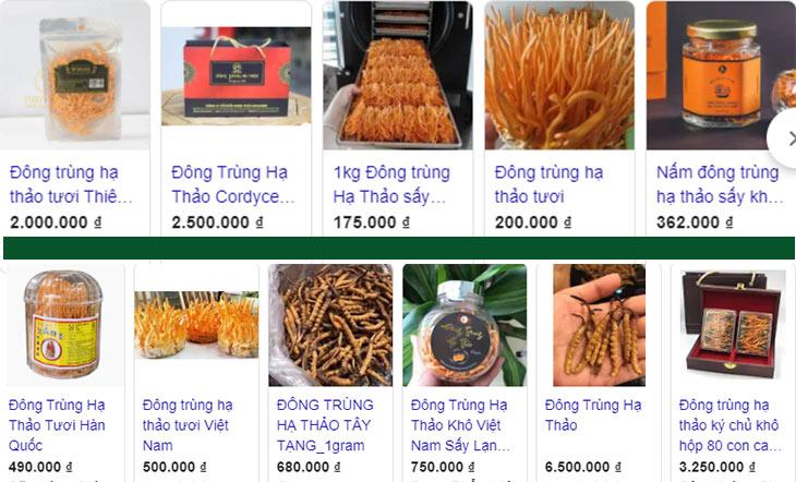 Thị trường giá đông trùng hạ thảo vô cùng đa dạng