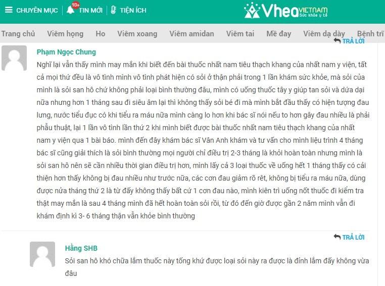 Review khách hàng điều trị sỏi thận bằng Nhất Nam Tiêu Thạch Khang trên trang Vhea Việt Nam