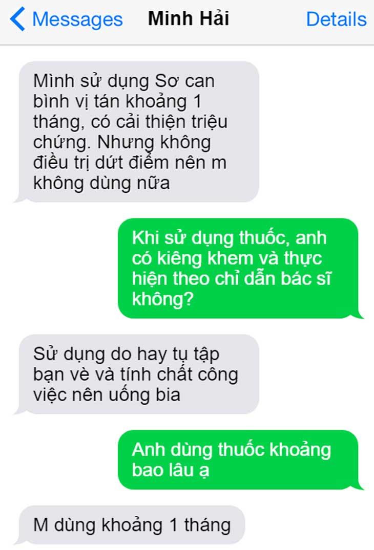 Phản hồi của anh Minh Hải khi sử dụng thuốc Sơ can Bình vị tán