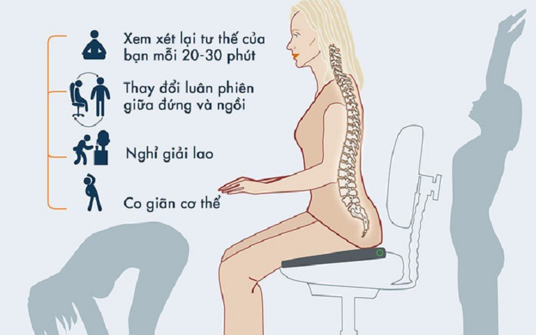 Ngồi đúng tư thế giúp giảm tình trạng thoái hóa cột sống