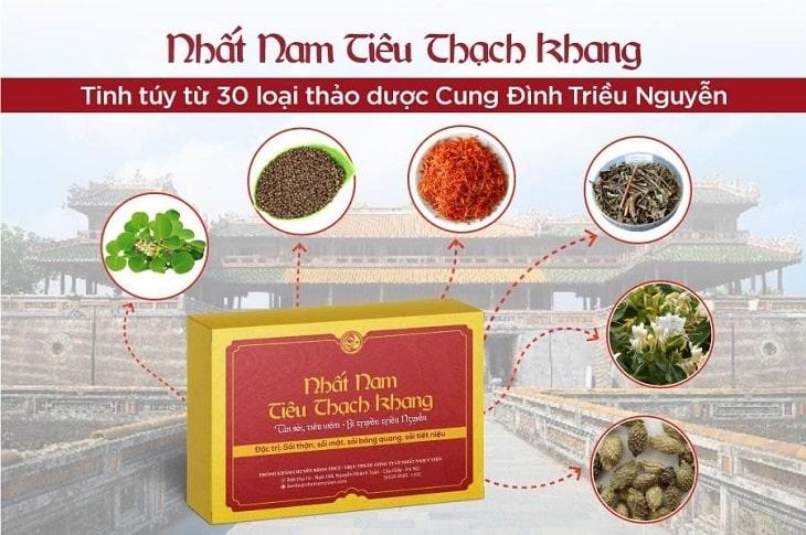 Nhất Nam Tiêu Thạch Khang được bào chế từ hơn 30 loại dược liệu cung đình