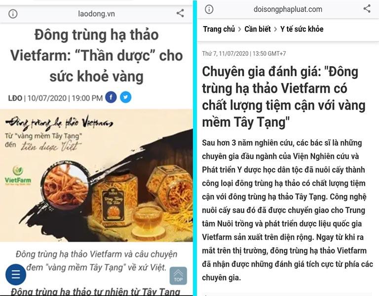 Báo Lao Động, Báo Đời Sống Pháp Luật,... đánh giá rất cao về ĐTHT Vietfarm