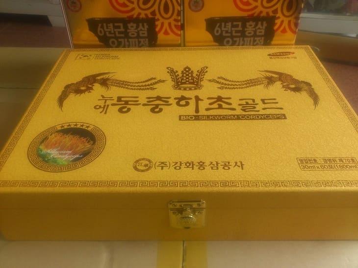 Hộp vàng sang trọng và công dụng tuyệt vời của đông trùng hộp gỗ vàng Kanghwa
