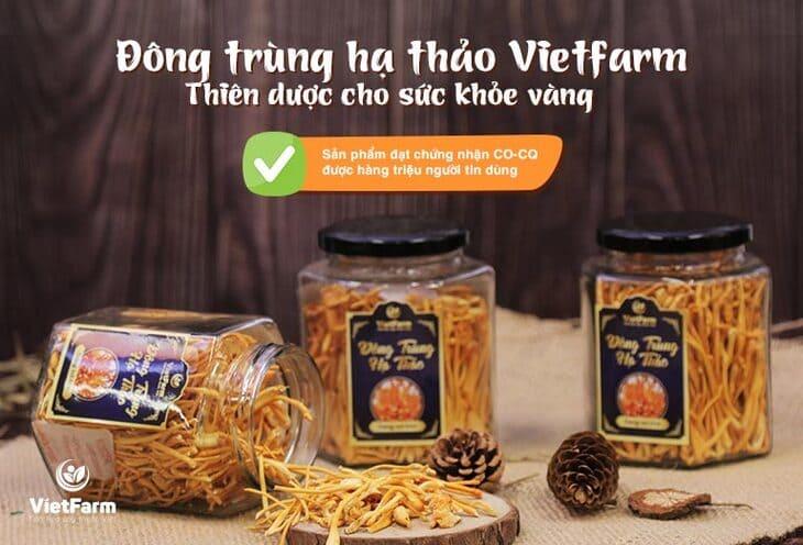 Đông trùng hạ thảo Vietfarm được sản xuất và đóng gói theo tiêu trình chuẩn và chất lượng sản phẩm luôn được đảm bảo
