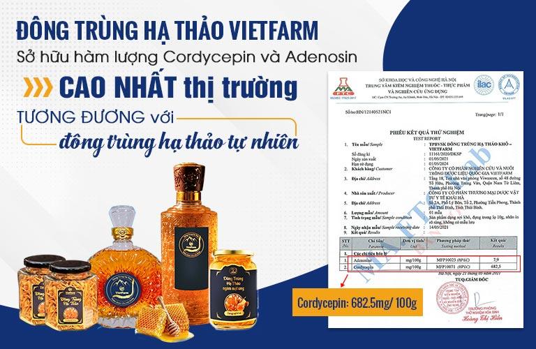 Đông trùng hạ thảo Vietfarm có hàm lượng hoạt chất qúy cao nhất thị trường