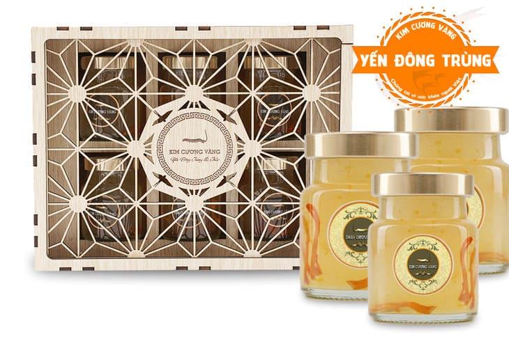 Nước yến sào đông trùng hạ thảo Kim Cương Vàng một trong những sản phẩm nổi tiếng nhất hiện nay.