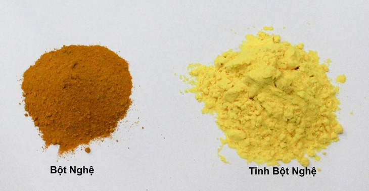 Có thể phân biệt tinh bột nghệ và bột nghệ qua màu sắc, mùi vị