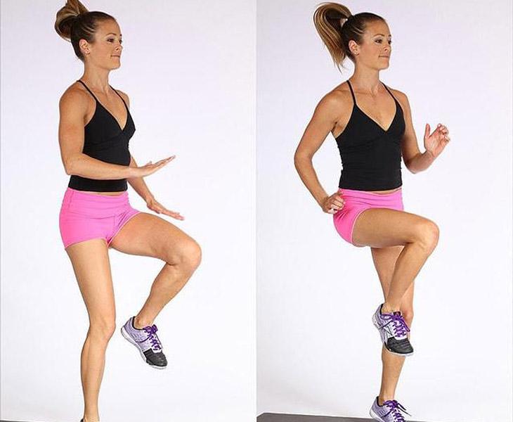 Động tác của ngày thứ 6 tập trung vào phần bắp chân, cơ bụng và đùi