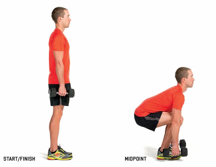 Dumbbell Squat tác động trực tiếp lên vùng cơ đùi và cơ bụng