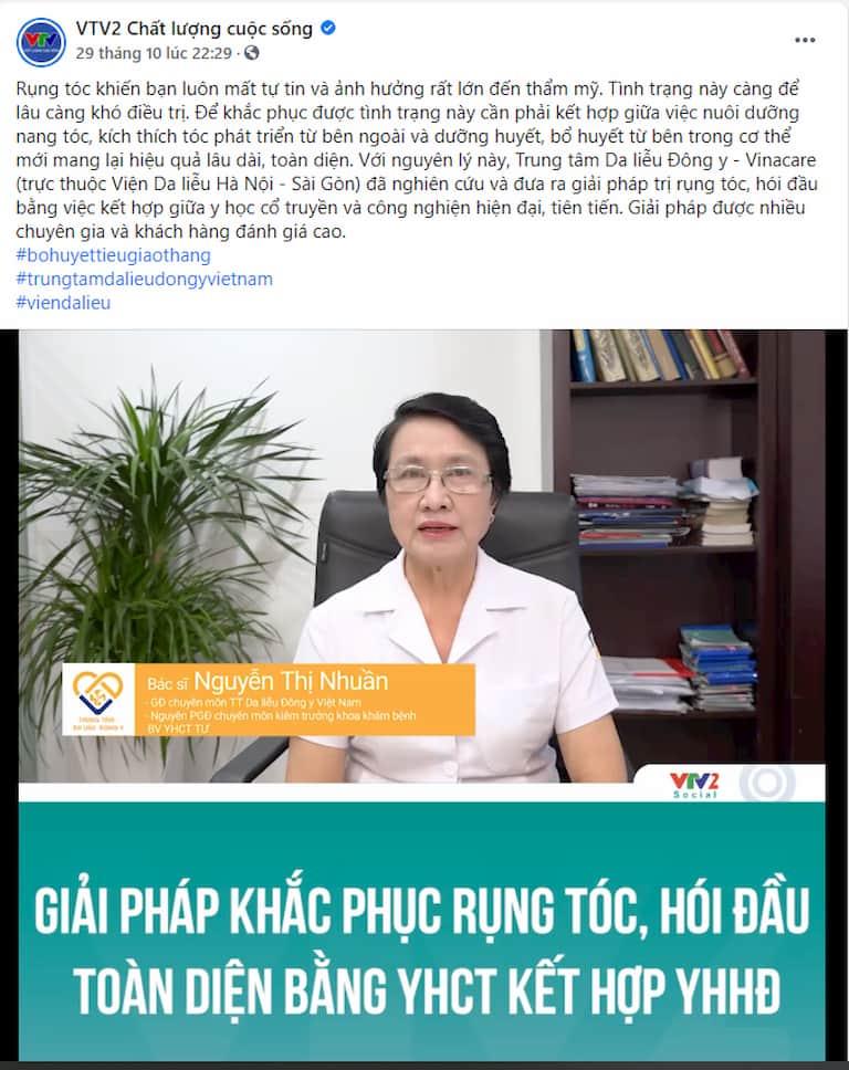 Chuyên gia VTV2 nhận định giải pháp điều trị rụng tóc toàn diện của Trung tâm Da liễu Đông y Việt Nam