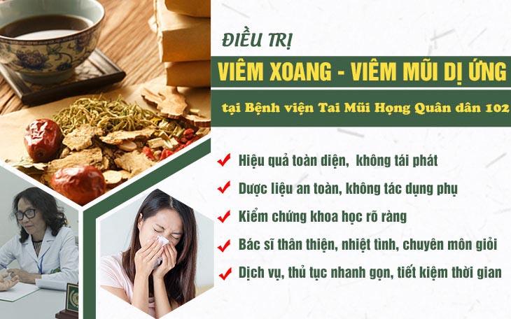 Ưu điểm khám chữa viêm mũi dị ứng tại bệnh viện Tai Mũi Họng Quân dân 102
