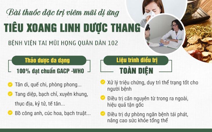 Bài thuốc chữa viêm mũi dị ứng hiệu quả toàn diện, chuyên sâu tại bệnh viện Tai Mũi Họng Quân dân 102