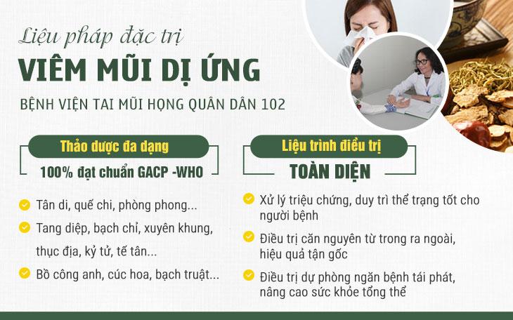 Liệu pháp chữa viêm mũi dị ứng toàn diện tại bệnh viện Tai Mũi Họng Quân dân 102