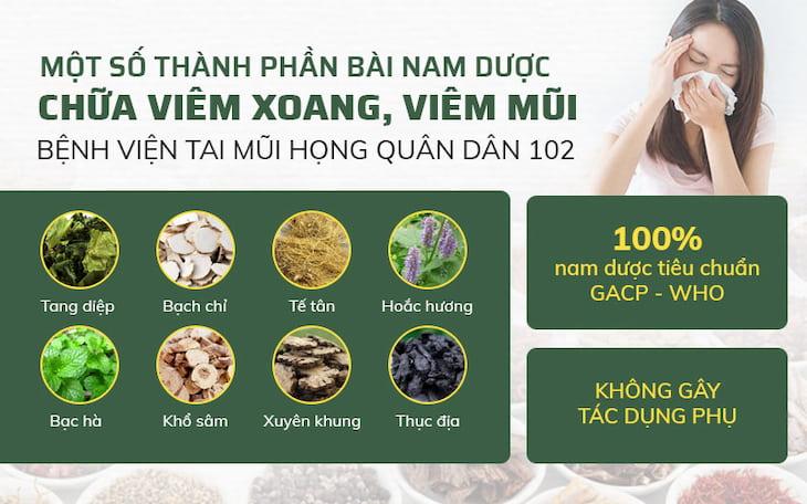 Một số vị thuốc thường sử dụng trong bài thuốc trị viêm xoang tại Bệnh viện Tai mũi họng Quân Dân 102
