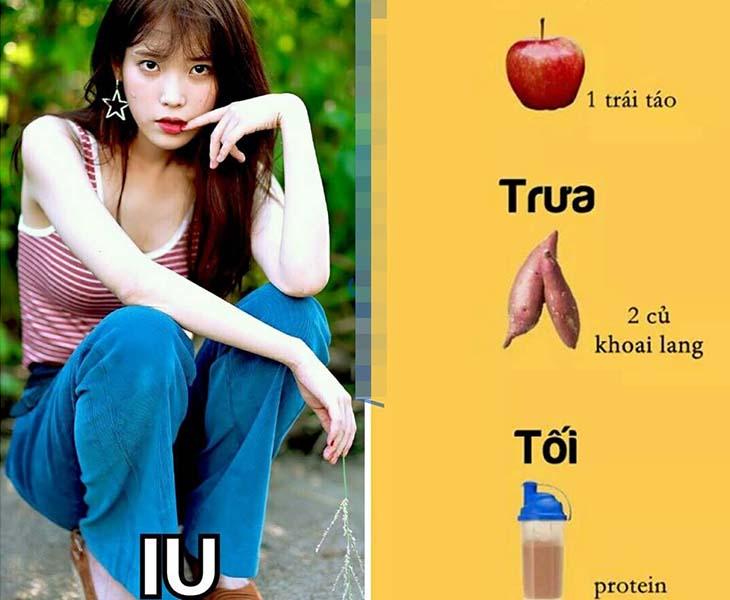 Thực đơn giảm cân của sao Hàn IU thường sử dụng khoai lang và trái cây