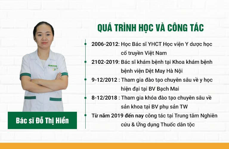 Qúa trình học tập và công tác của bác sĩ Đỗ Thị Hiền