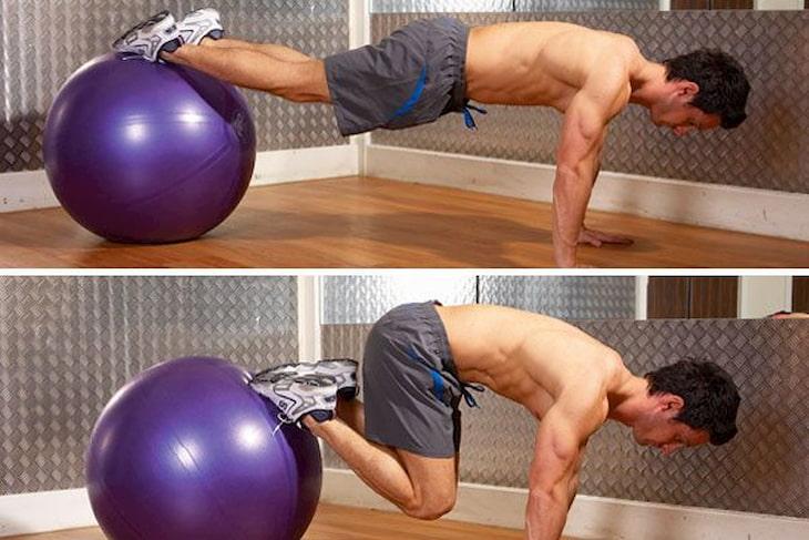 Chuyển động trong Swiss Ball Jackknife nhờ sự trợ giúp của bóng sẽ tác động đáng kể đến vùng bụng dưới