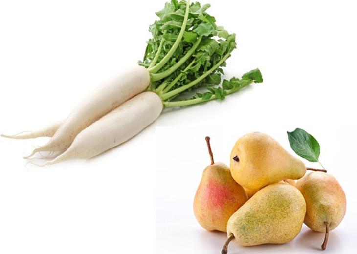 Củ cải trắng kết hợp với lê giúp giảm ho nhanh chóng