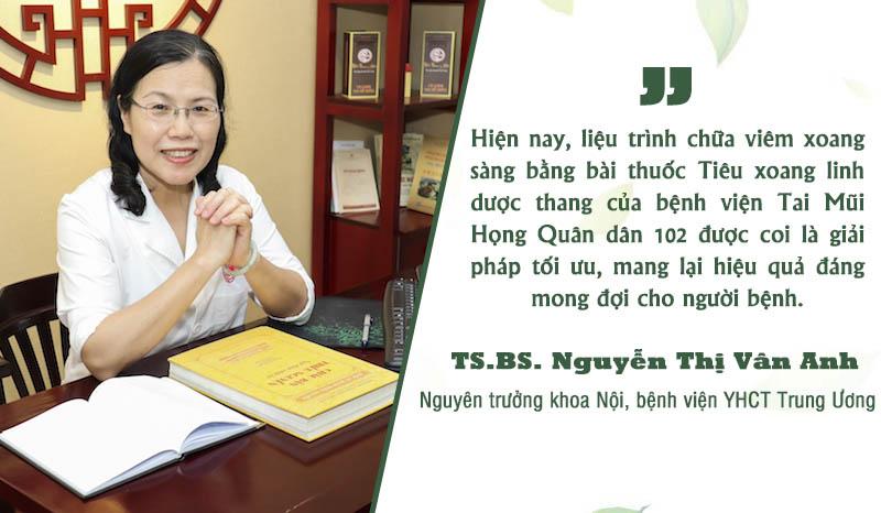 TS.BS. Nguyễn Thị Vân Anh có hơn 40 nhiều năm kinh nghiệm chữa viêm bệnh bằng YHCT