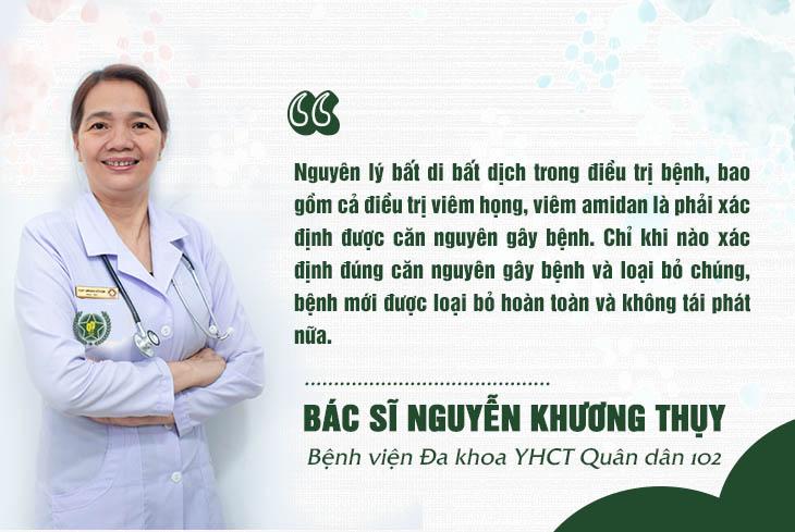Nguyên tắc điều trị viêm họng, viêm amidan của bác sĩ Khương Thụy