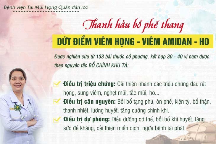 Bài thuốc đặc trị viêm họng, viêm amidan, ho bệnh viện Tai Mũi Họng Quân dân 102