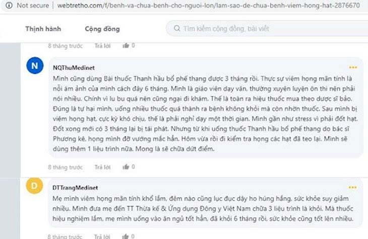 Feedback Thanh Hầu Bổ Phế Thang