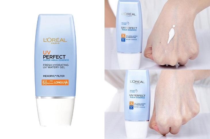 """Nếu bạn đang tìm kiếm loại kem chống nắng cho da khô giá bình dân tốt thì chắc chắn không thể bỏ qua cái tên L""""Oreal UV Perfect Aqua Essence"""
