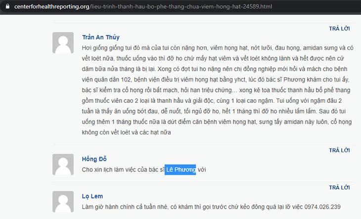Phản hồi của độc giả Trần An Thủy
