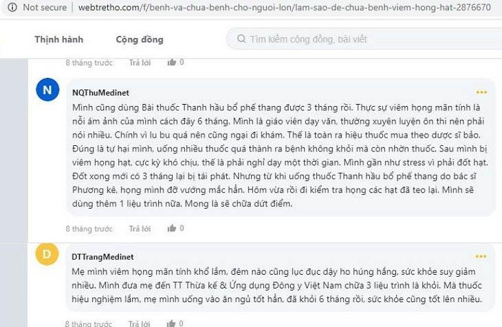 Một số nhận xét của bệnh nhân về hiệu quả chữa viêm họng của bác sĩ Lê Phương