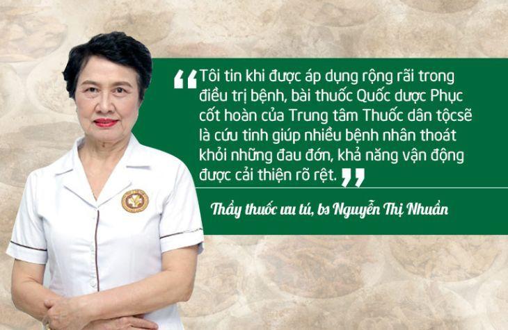 Đánh giá của bác sĩ Nguyễn Thị Nhuần về bài thuốc Quốc dược Phục cốt khang