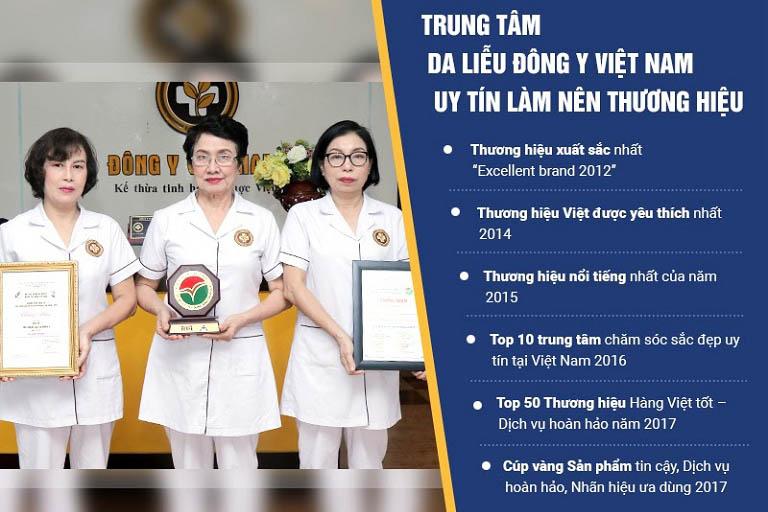 Trung tâm Da liễu Đông y Việt Nam đã nhận được nhiều giải thưởng danh giá