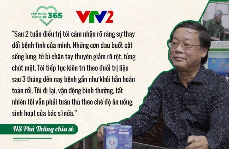 Bệnh thoát vị đĩa đệm của nghệ sĩ Phú Thăng được kiểm soát sau 3 tháng điều trị tại Trung tâm Thuốc dân tộc