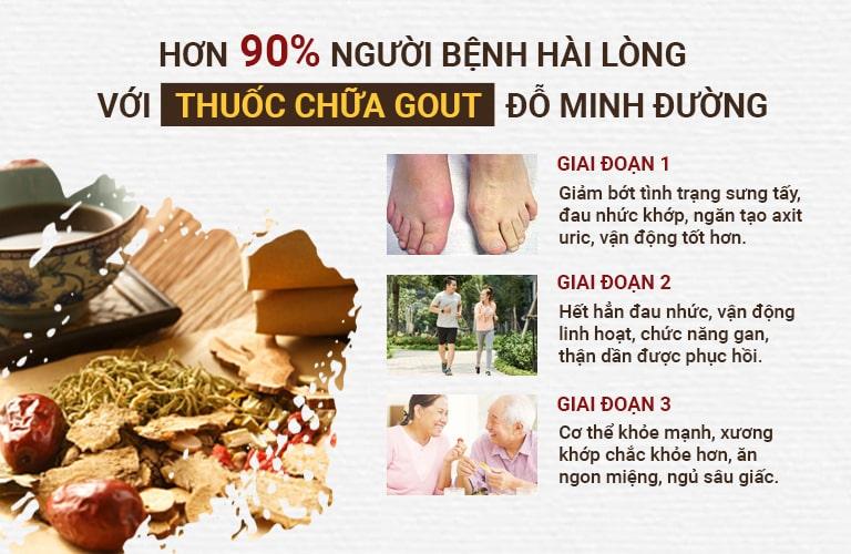 Tiến trình phục hồi khi điều trị bằng bài thuốc Gout Đỗ Minh