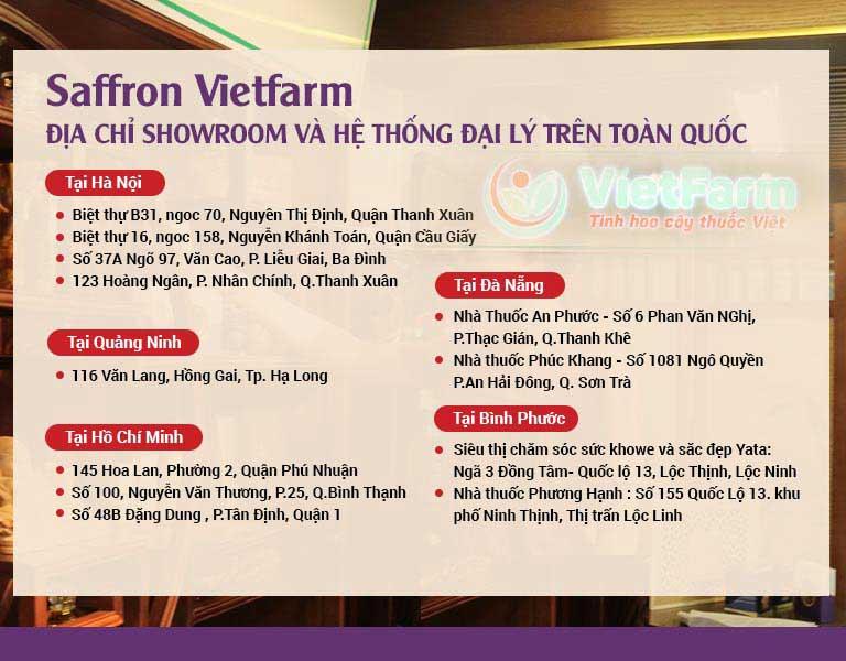 Tổng hợp địa chỉ showroom và hệ thống đại lý phân phối Saffron Vietfarm