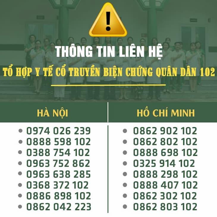 Tổng hợp hotline đang được sử dụng của Tổ hợp y tế cổ truyền biện chứng Quân Dân 102