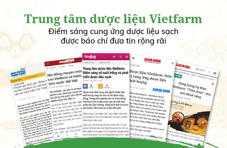 Trung tâm dược liệu Vietfarm được nhiều thời báo uy tín đưa tin, đánh giá cao