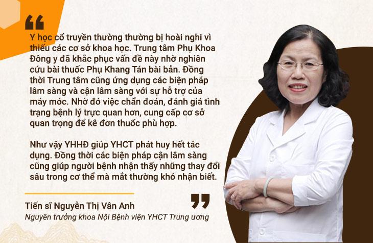 Bác sĩ Vân Anh đánh giá cao phương pháp Đông y có biện chứng trong tại Trung tâm Phụ khoa Đông y