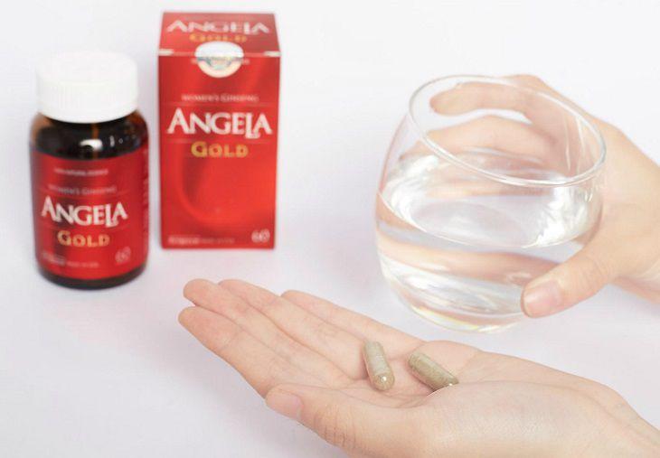 Người dùng uống thuốc Angela Gold 2 lần vào sáng và tối, trong hoặc sau bữa ăn.