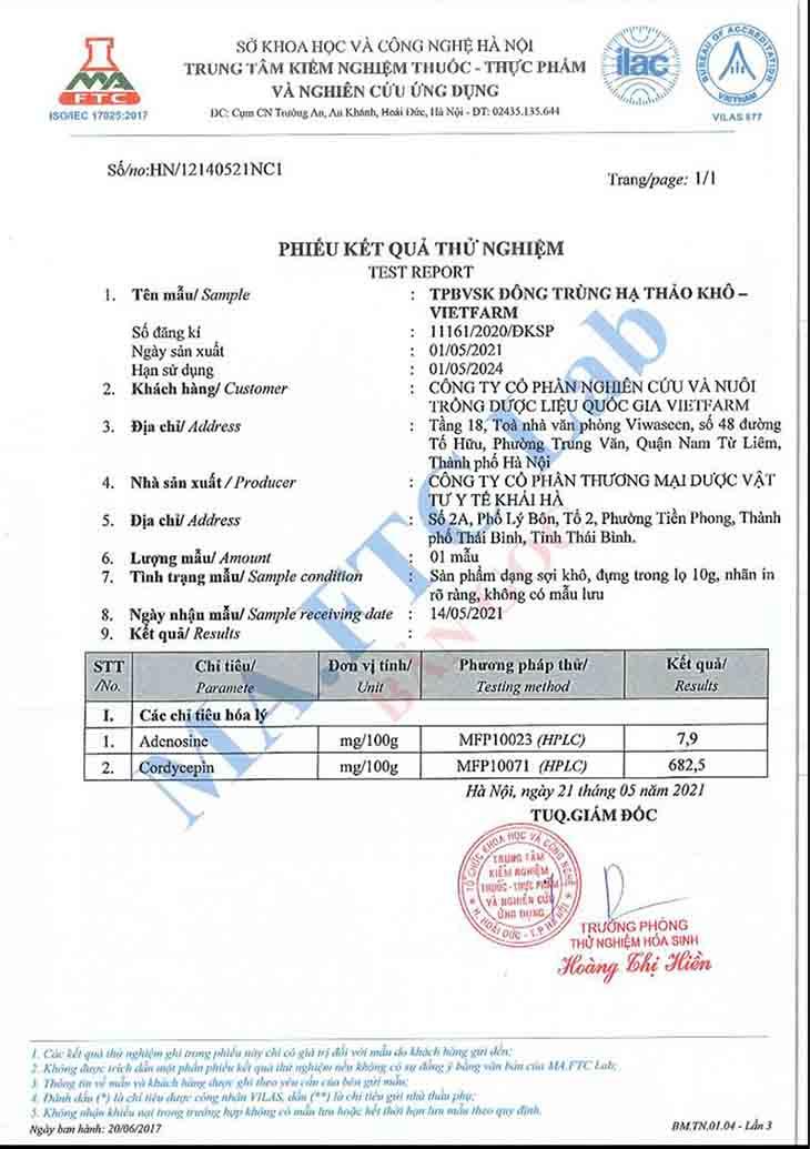 Giấy kiểm định của Bộ Y tế với Đông trùng hạ thảo Vietfarm sợi nấm