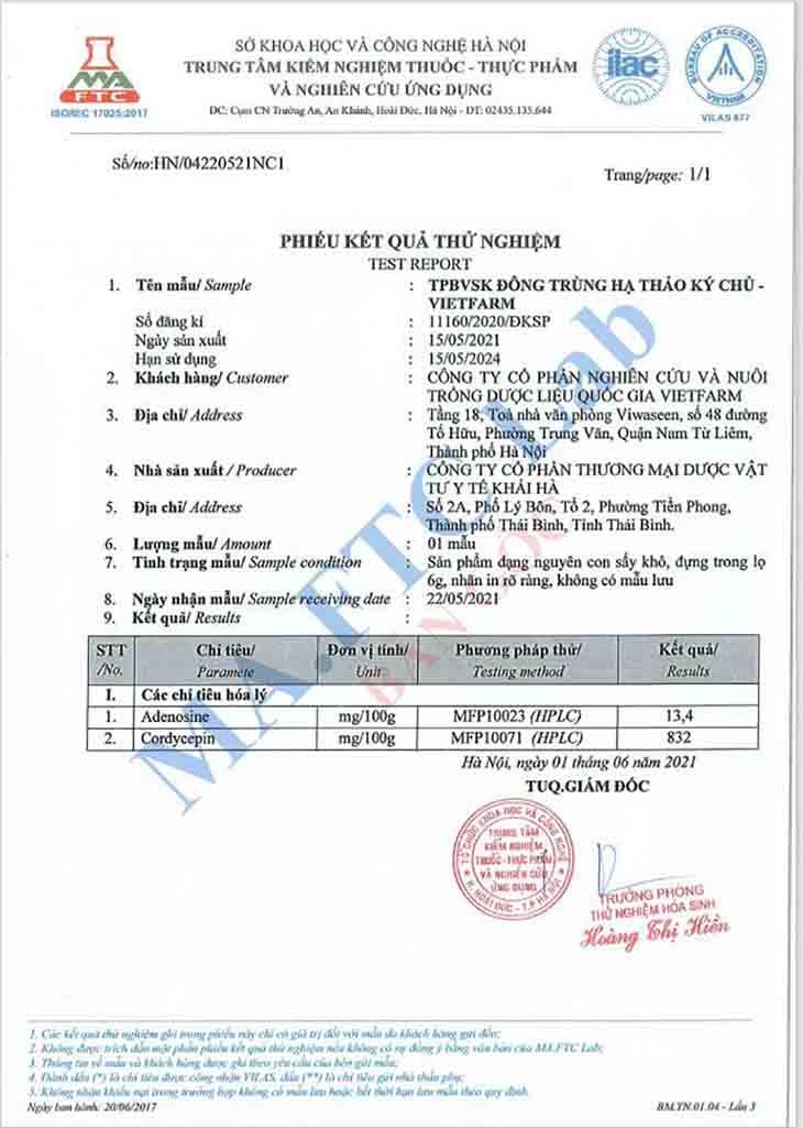 Giấy kiểm định của Bộ Y tế với Đông trùng hạ thảo Vietfarm ký chủ