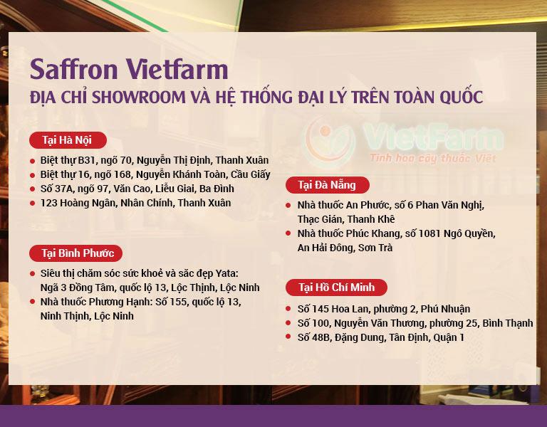 Hệ thống các cửa hàng trên toàn quốc của Saffron Vietfarm
