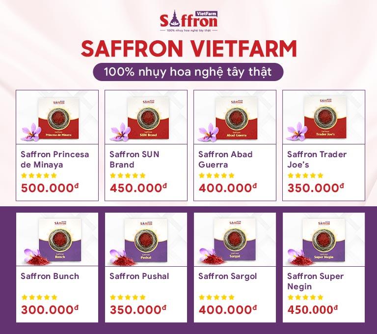 Bảng giá các loại Saffron Vietfarm cao cấp