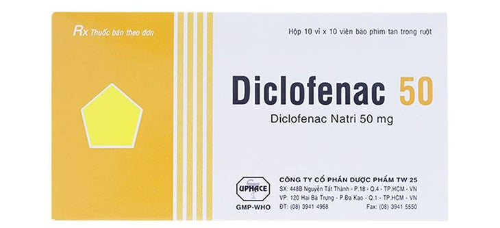 Diclofenac viên 50g được dùng chữa bệnh viêm khớp dạng thấp