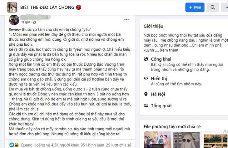 Một chị gái có chồng đã sử dụng Dương Bảo Vương
