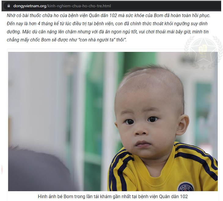 Phản hồi của mẹ bé Minh Anh về hiệu quả chữa ho của bài thuốc trên trang Đông y Việt Nam