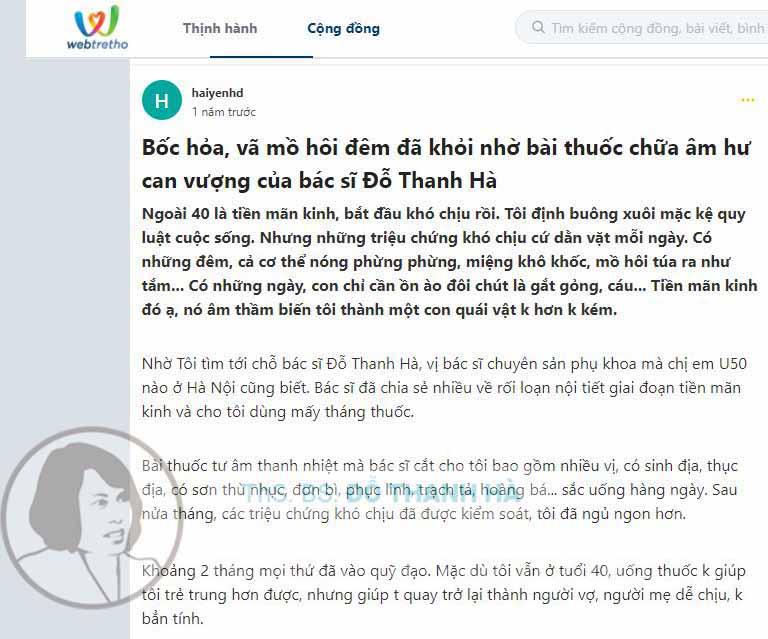 Đánh giá của cộng đồng Webtretho về bài thuốc chữa rối loạn nội tiết tố nữ của bác sĩ Đỗ Thanh Hà