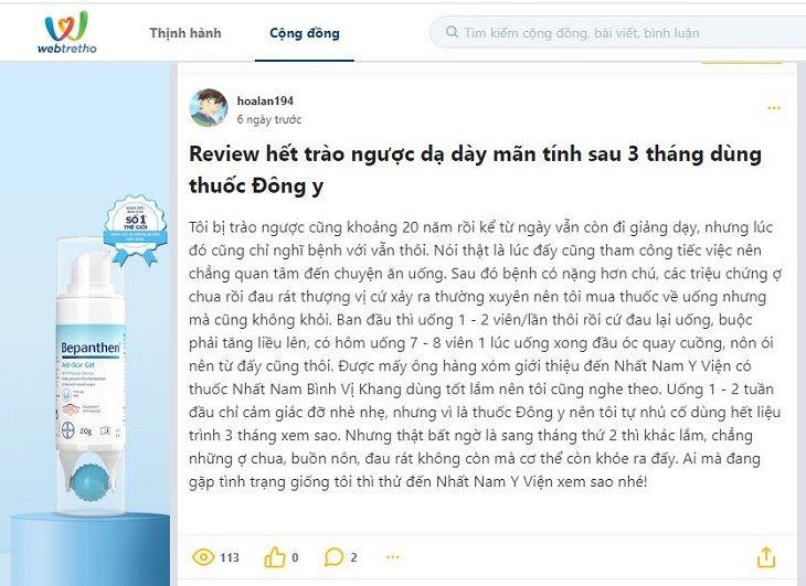 Bệnh nhân chia sẻ review trên diễn đàn webtretho